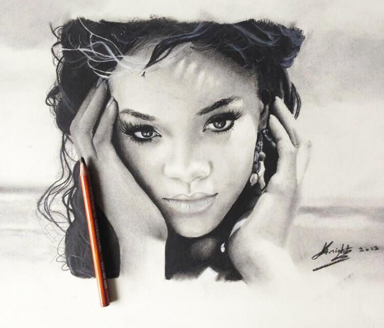 Rihana portrait drawing by Jonathan Knight Art