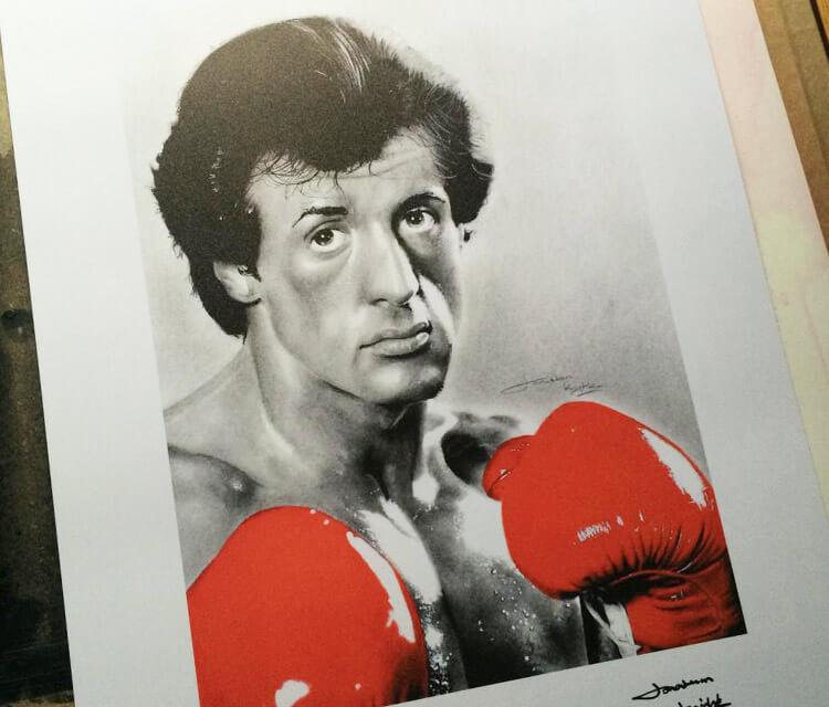 Rocky Balboa portrait drawing by Jonathan Knight Art