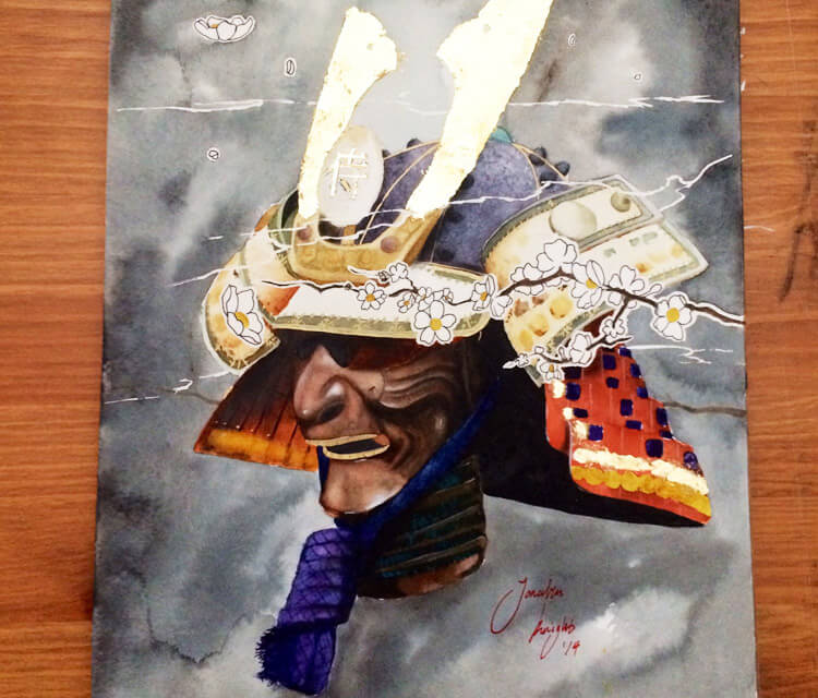 Samurai watercolor painting by Jonathan Knight Art
