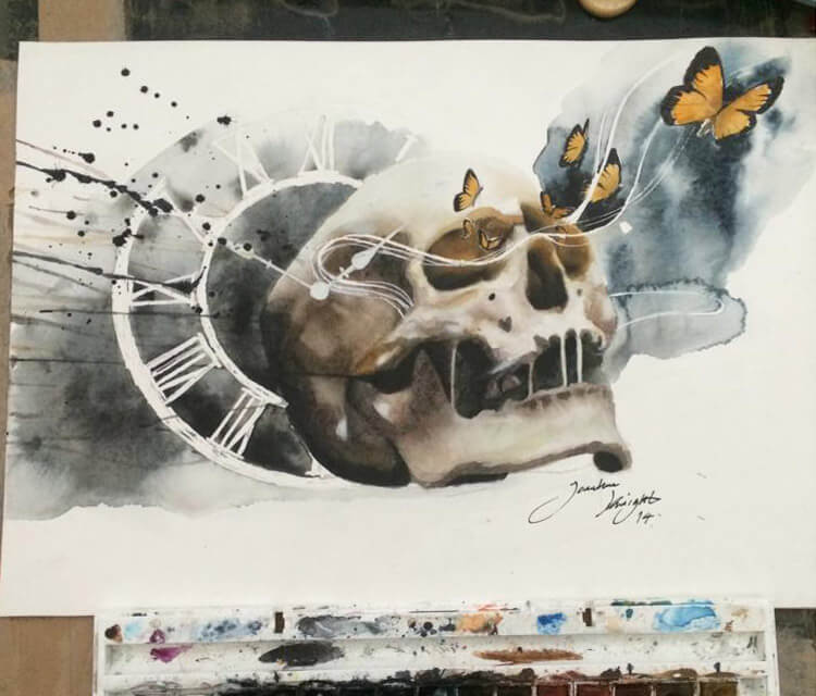 Skull and Butterflies painting by Jonathan Knight Art