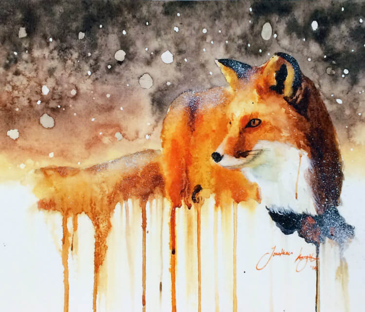 Snow Fall and Fox painting by Jonathan Knight Art