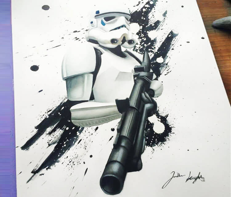 Stormtrooper watercolor painting by Jonathan Knight Art