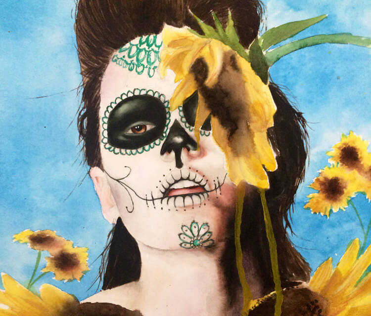 Sunflower Muerte painting by Jonathan Knight Art