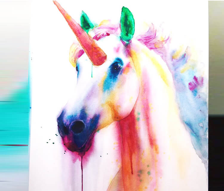 Unicorn watercolor painting by Jonathan Knight Art