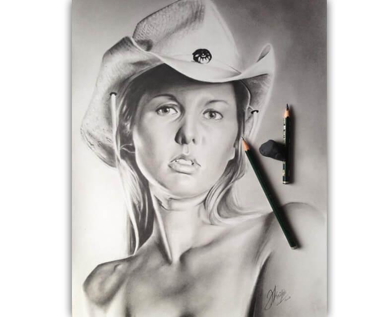 Woman Portrait1 drawing by Jonathan Knight Art