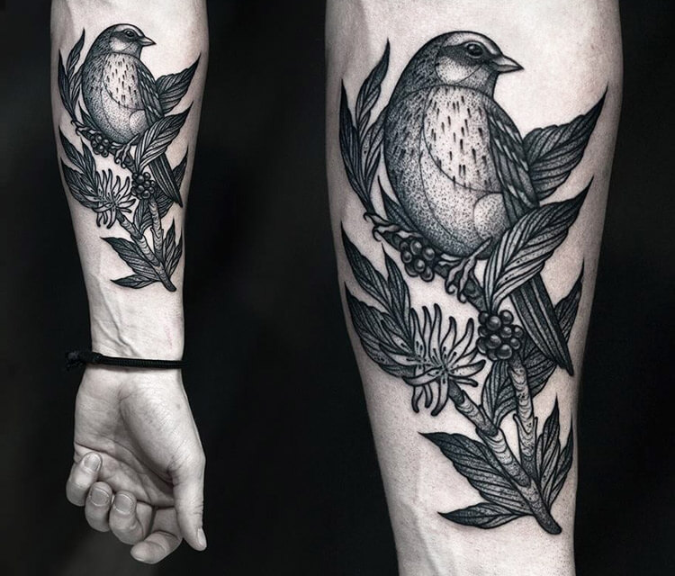 Birds dotwork tattoo by Kamil Czapiga