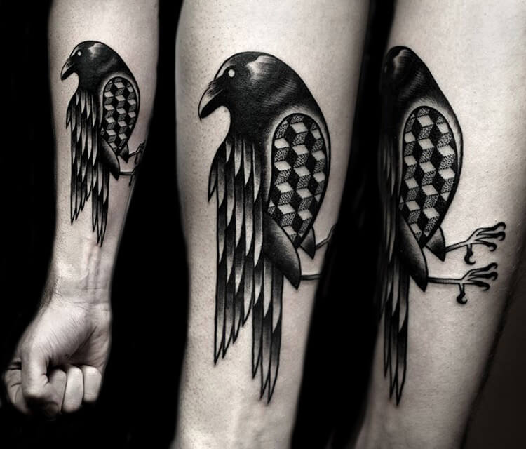 Crow dotwork tattoo by Kamil Czapiga