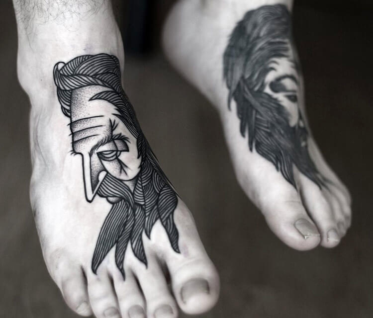 Feetl dotwork tattoo by Kamil Czapiga