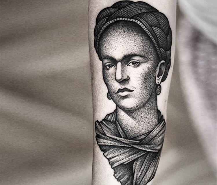 Frida Kahlo tattoo by Kamil Czapiga