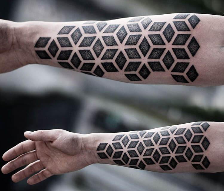 Geometrical Dotwork tattoo by Kamil Czapiga