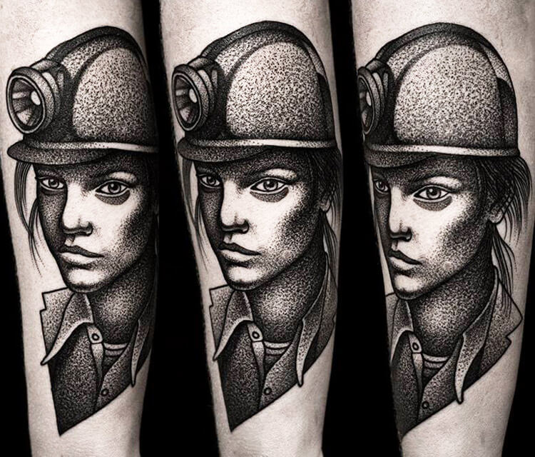 Miner portrait tattoo by Kamil Czapiga