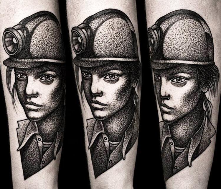Miner portrait tattoo by Kamil Czapiga