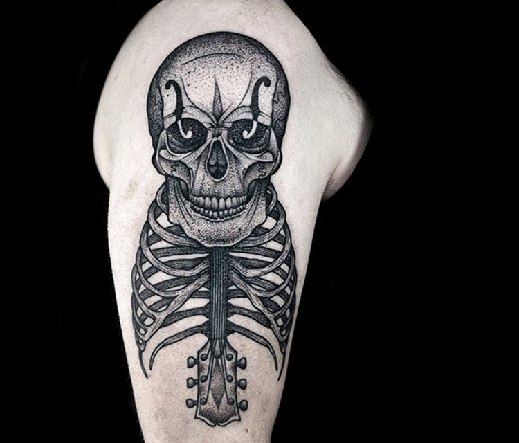 Skeleton Dotwork tattoo by Kamil Czapiga