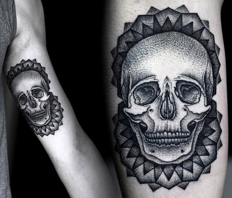 Skull dotwork tattoo by Kamil Czapiga