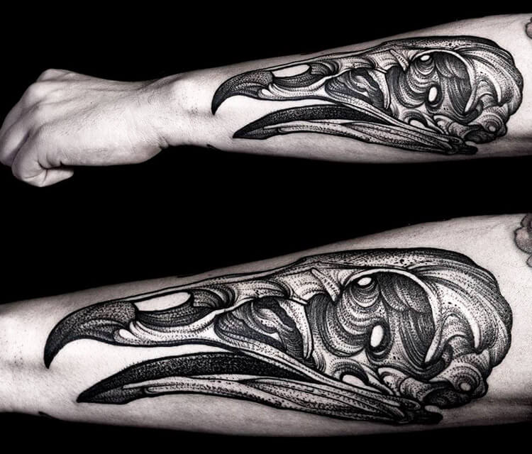 Vulture Skull dotwork tattoo by Kamil Czapiga