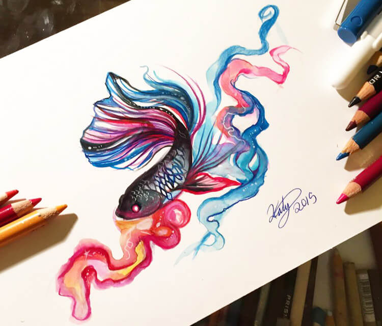 Betta fish color drawing by Katy Lipscomb Art