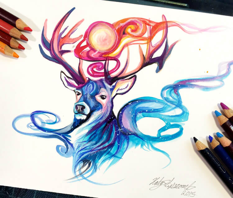 Bringer of Day and Night color drawing by Katy Lipscomb Art
