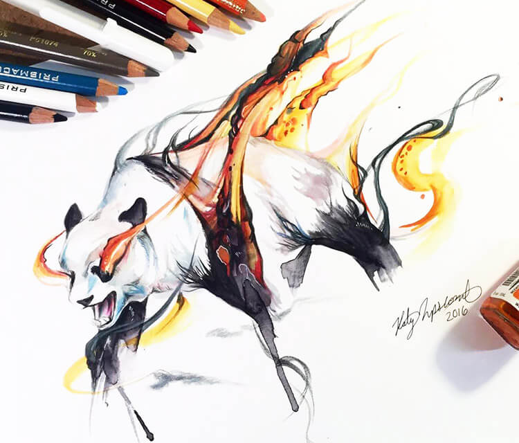 Burn color drawing by Katy Lipscomb Art