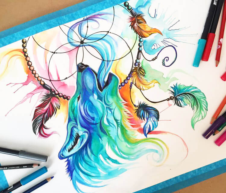 Catching Dreams 3 color drawing by Katy Lipscomb Art