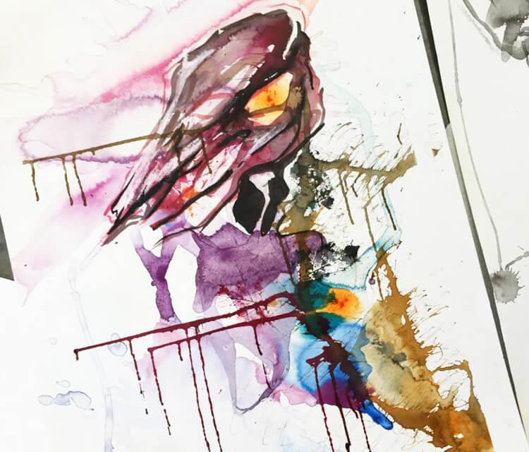 Color Skull Splash painting by Katy Lipscomb Art