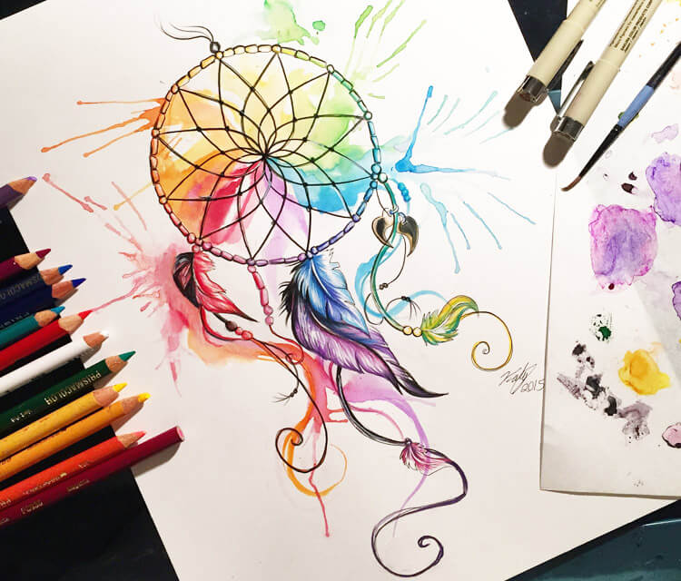 Color wheel dreamcathcer color drawing by Katy Lipscomb Art