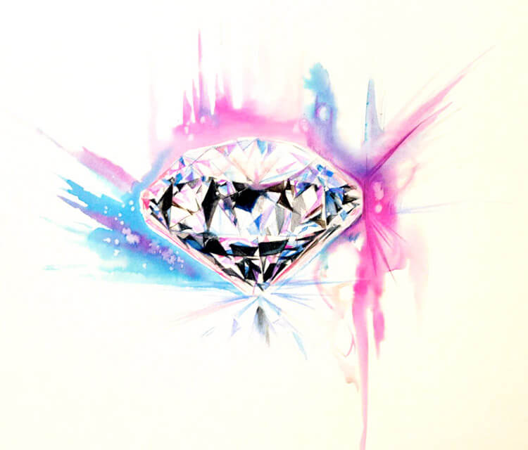 Diamond color drawing by Katy Lipscomb Art