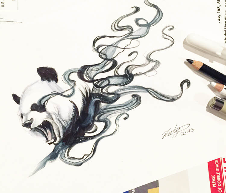 Disapearing panda drawing by Katy Lipscomb Art