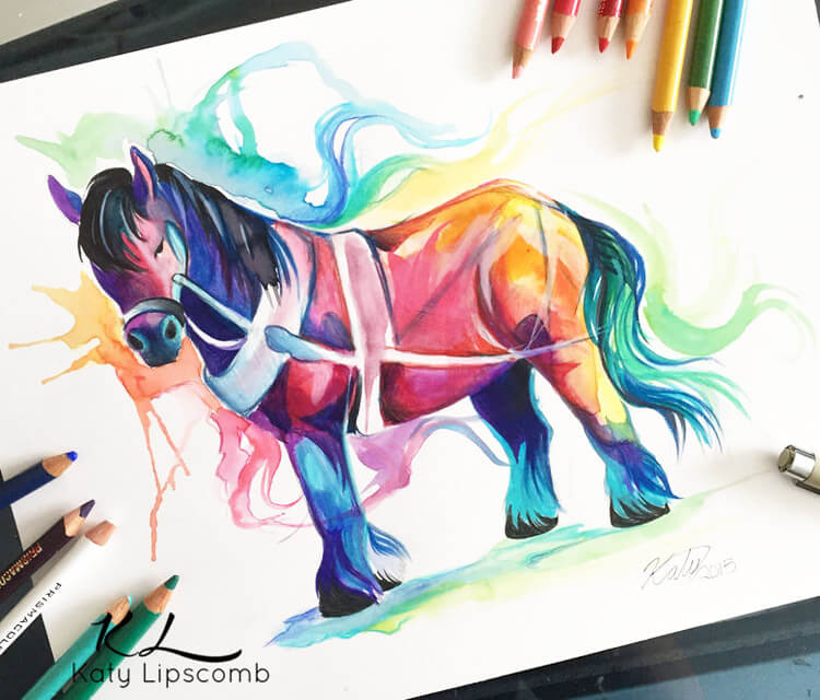 Draft horse color drawing by Katy Lipscomb Art