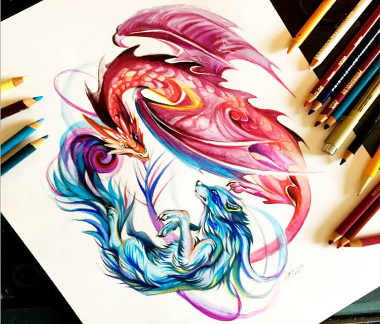 Duality color drawing by Katy Lipscomb Art