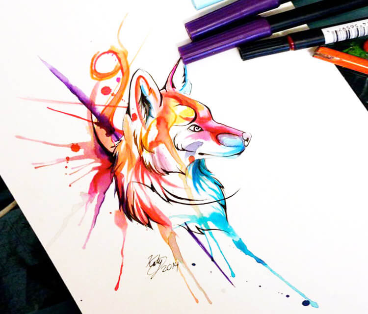 fox design marker drawing by Katy Lipscomb Art