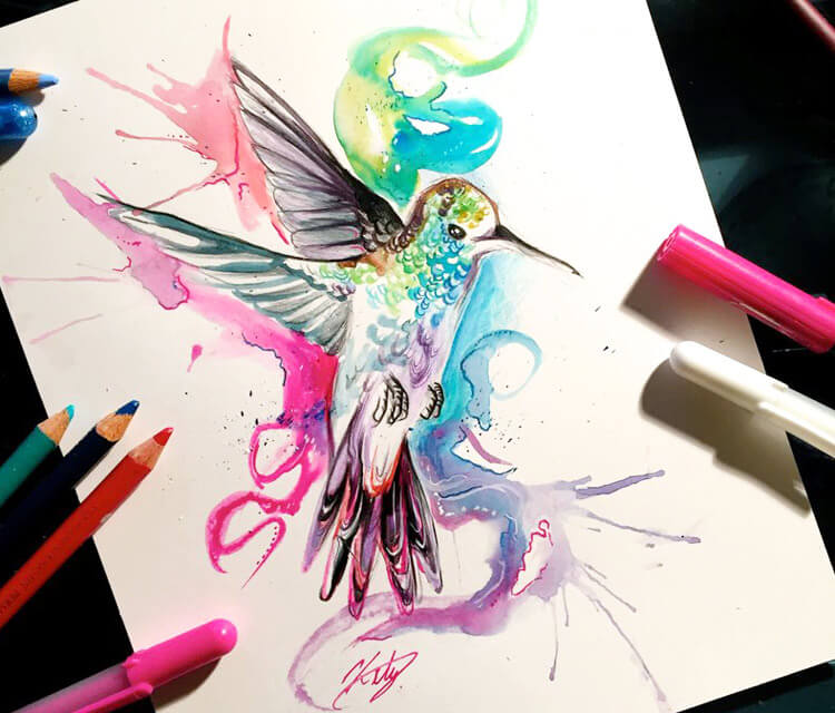 Hummingbird color drawing by Katy Lipscomb Art