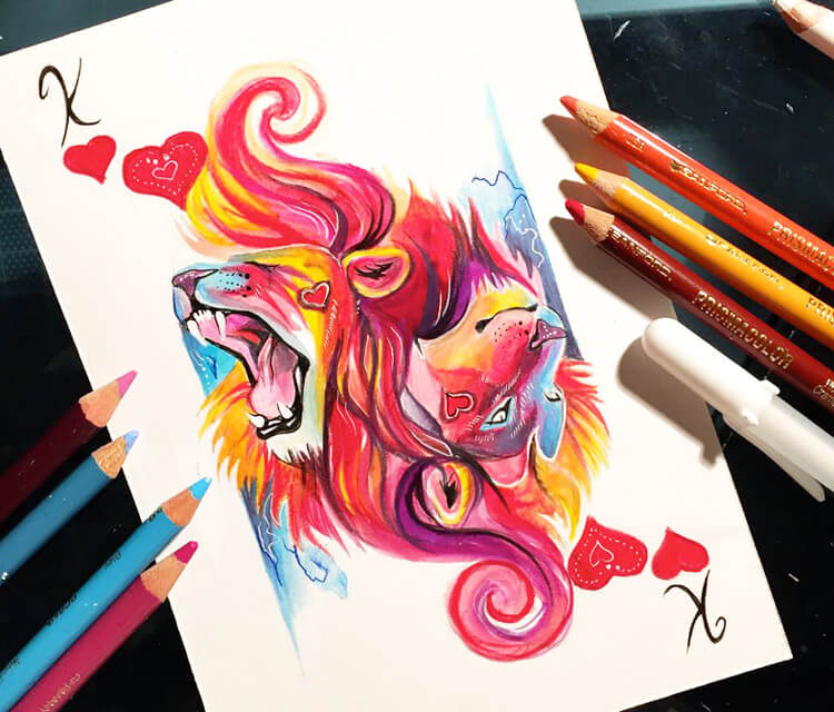 King of hearts color drawing by Katy Lipscomb Art