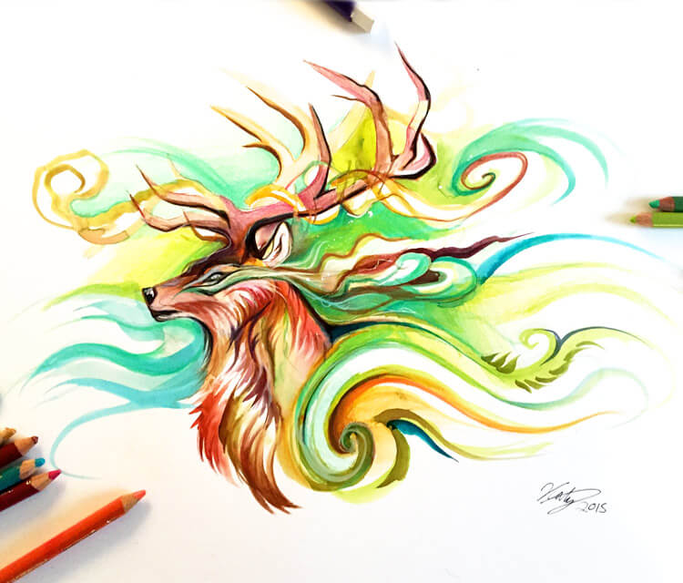 Magic deer color drawing by Katy Lipscomb Art