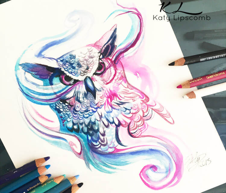 magic owl color drawing by Katy Lipscomb Art