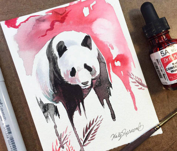 Panda watercolor painting by Katy Lipscomb Art