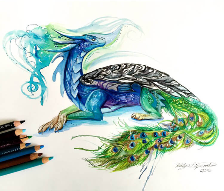 Peacock dragon color drawing by Katy Lipscomb Art | No. 1444 - photo#27