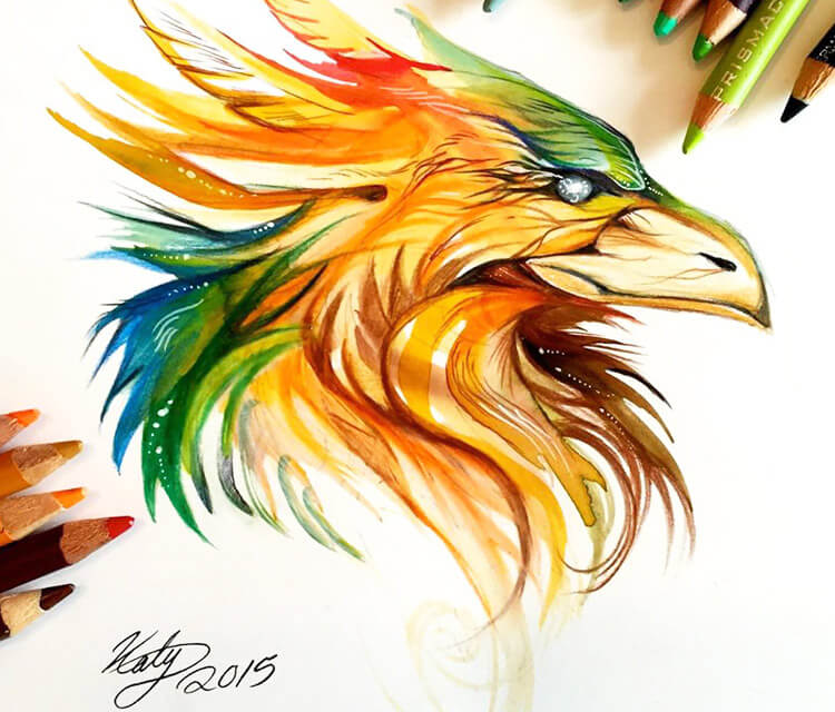 Phoenix Head. color drawing by Katy Lipscomb Art