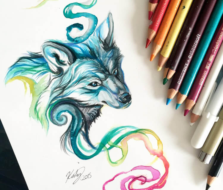 Rainbow mist color drawing by Katy Lipscomb Art