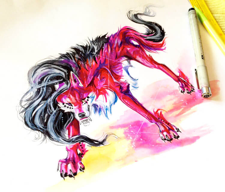 Rawr pen drawing by Katy Lipscomb Art