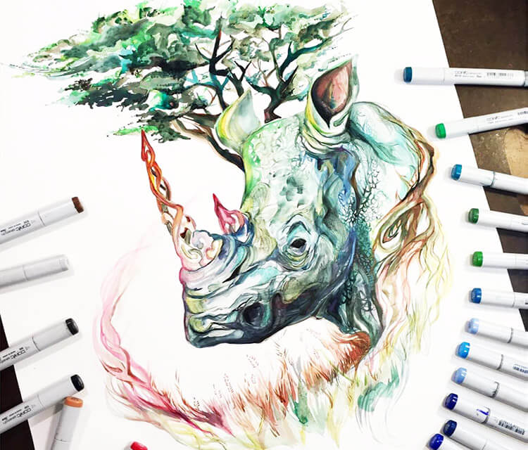 Rhinoceros Medicinal marker drawing by Katy Lipscomb Art