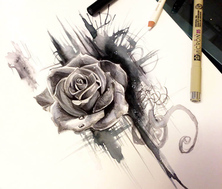 Rose design drawing by Katy Lipscomb Art