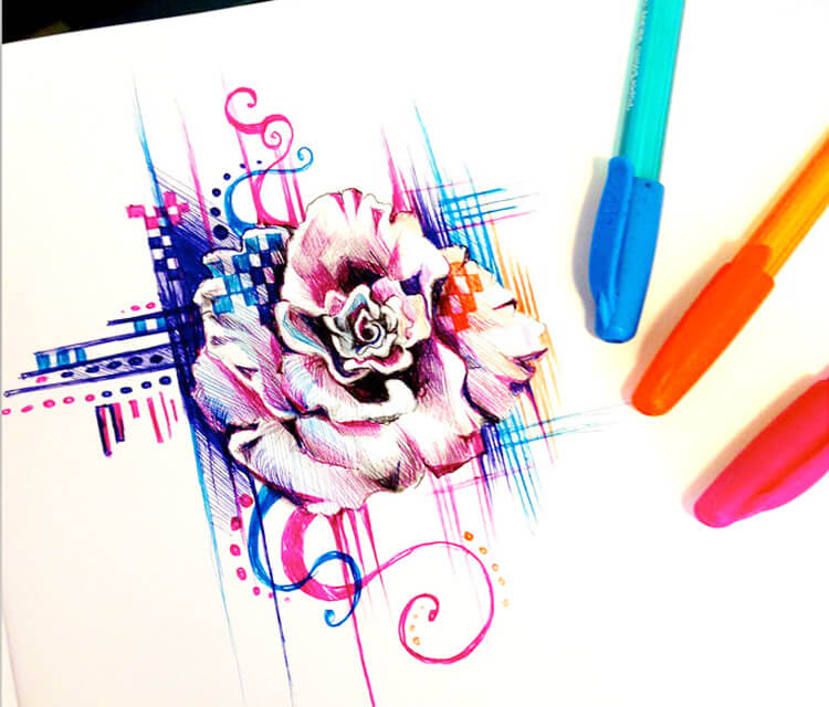 Rose pen design pen drawing by Katy Lipscomb Art