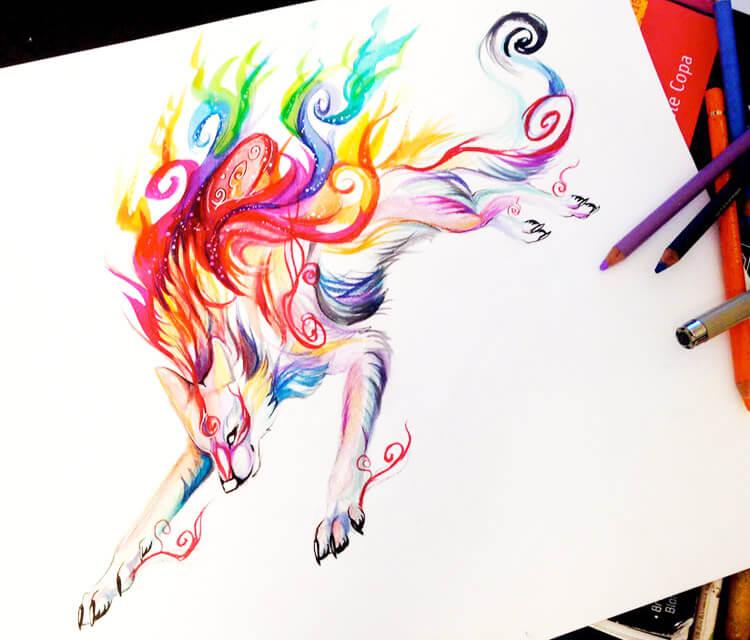 Shiranui color drawing by Katy Lipscomb Art