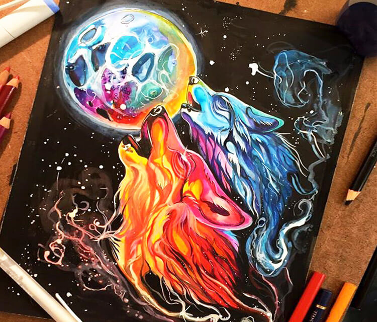 Space Howl color drawing by Katy Lipscomb Art