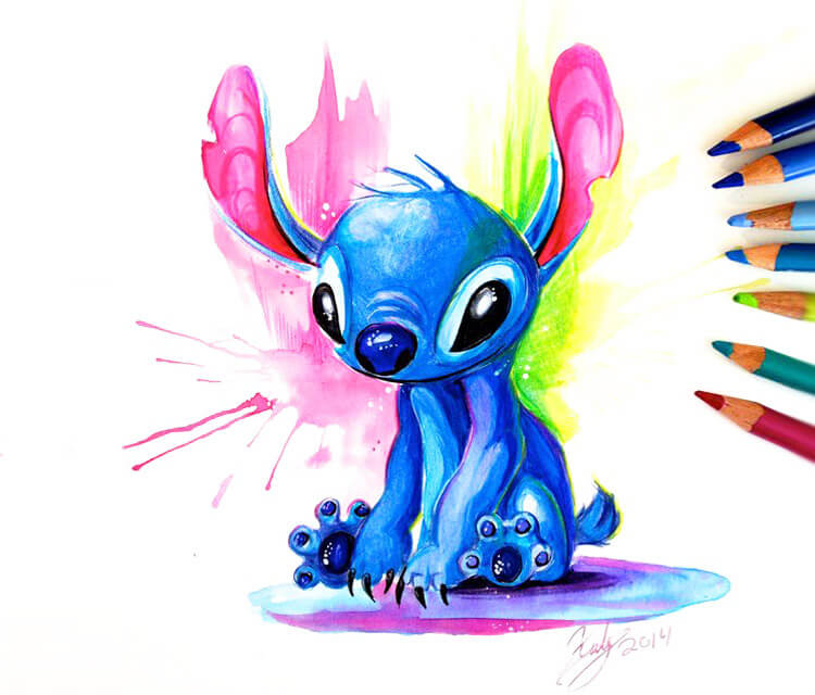 Stitch color drawing by Katy Lipscomb Art