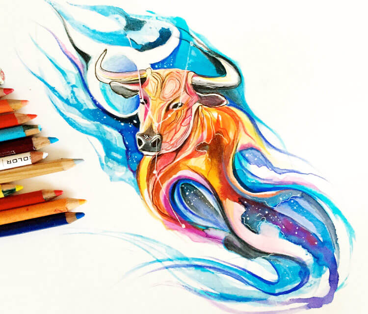Taurus color drawing by Katy Lipscomb Art