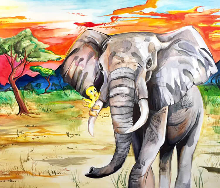 Tweety and elephant watercolor painting by Katy Lipscomb Art