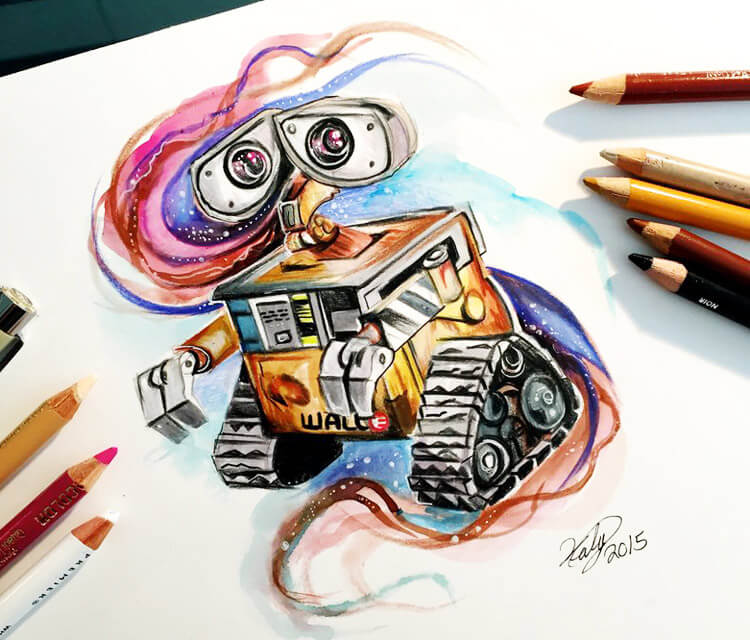 Wall E color drawing by Katy Lipscomb Art