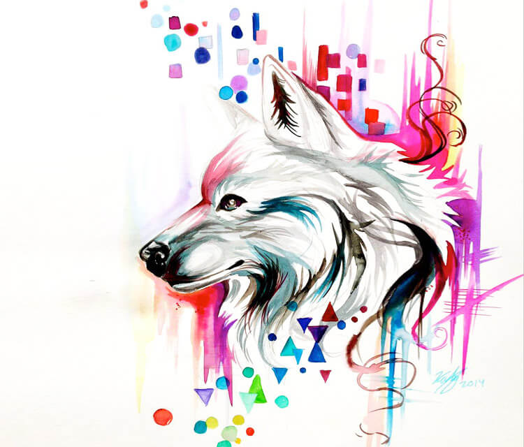 Watercolor wolf design color drawing by Katy Lipscomb Art