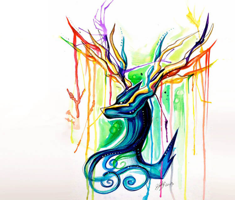 Xerneas color drawing by Katy Lipscomb Art